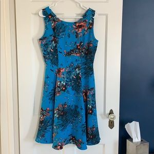 NY & Co Turquoise Floral Belted Dress
